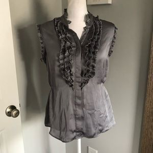 Converse Gray Ruffled Button Down Blouse